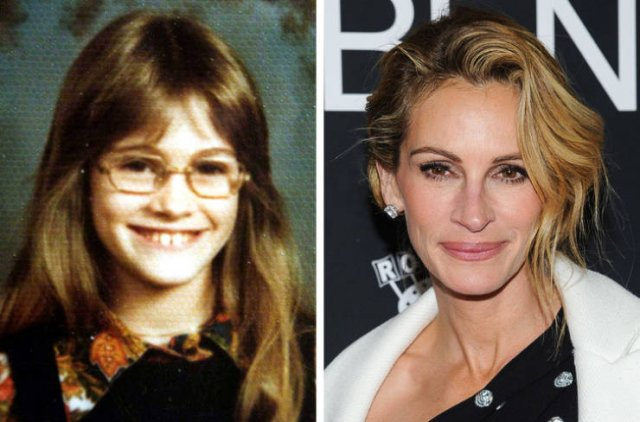 Celebs In Their School Years And Now