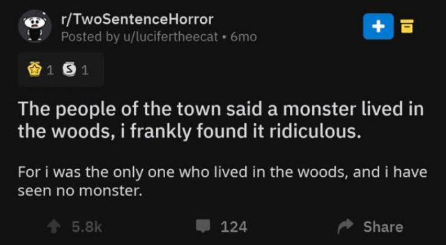 A Horror Story In Two Sentences. And It's Really Creepy