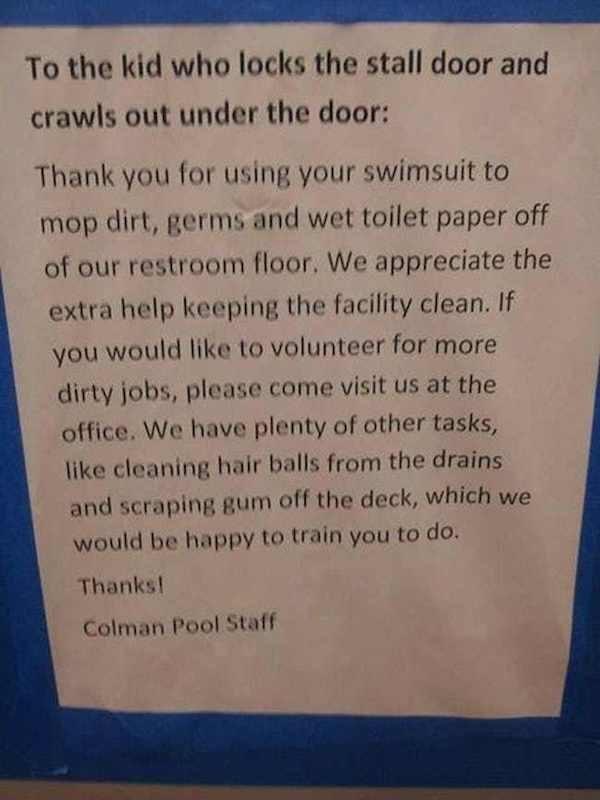 Passive Aggressive Bathroom Notes
