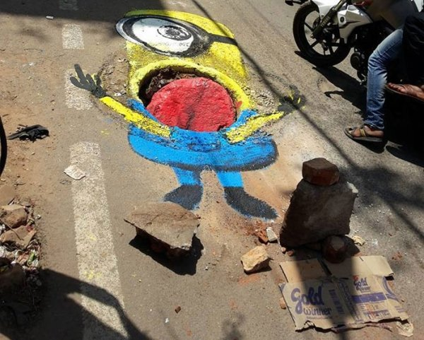 This Man Draws Attention To Road Hazards In Bengaluru, India