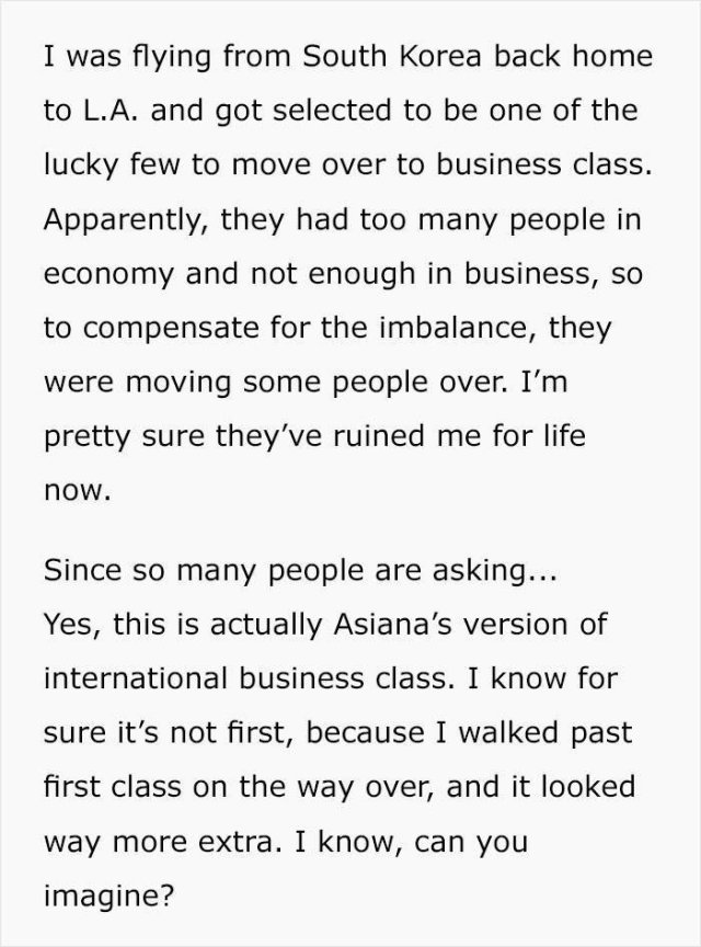 First Class Is Not Economy…