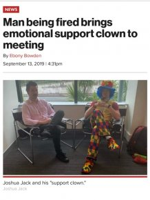 Man Being Fired Brings Emotional Support Clown To Meeting