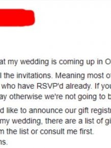 Bride Insists Guests Spend At Least $400 On Her Wedding Gift
