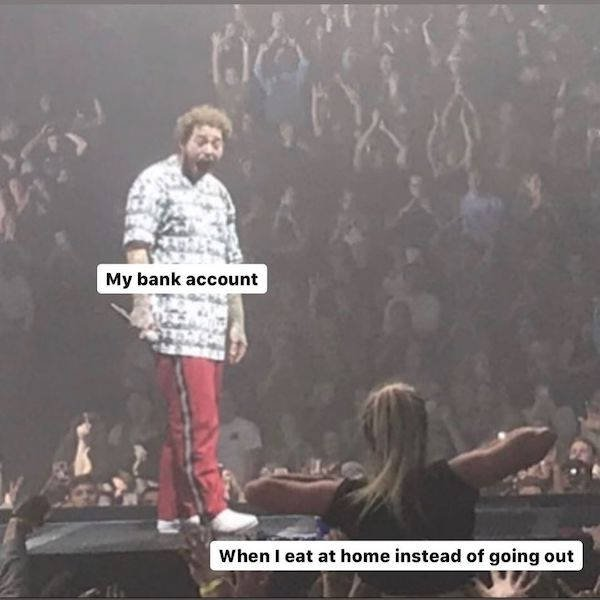 """Post Malone Being Flashed At A Concert"" Memes"
