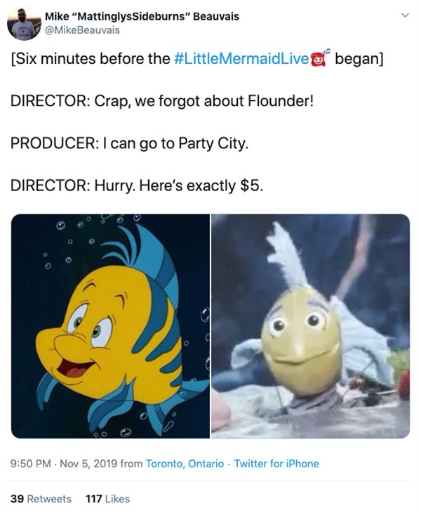 "Funny Memes & Tweets About ""The Little Mermaid Live"""