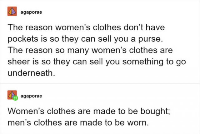 Women Want Pockets In Their Clothes!