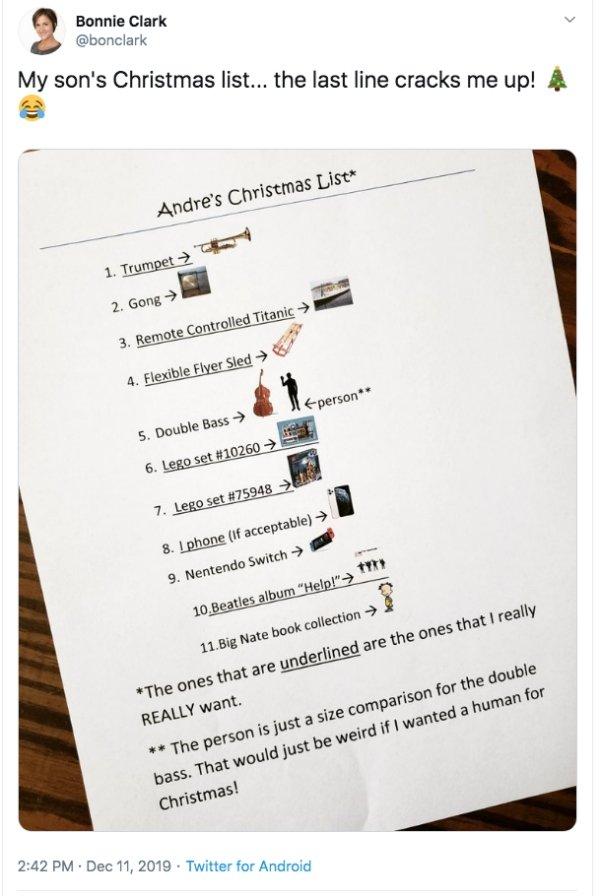 Kids' Christmas Lists