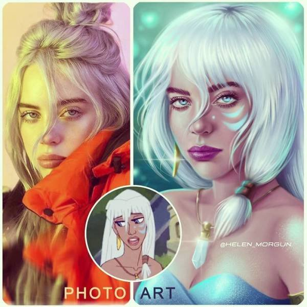 Helen Morgun Shows How Celebs Look If They Are Disney Characters