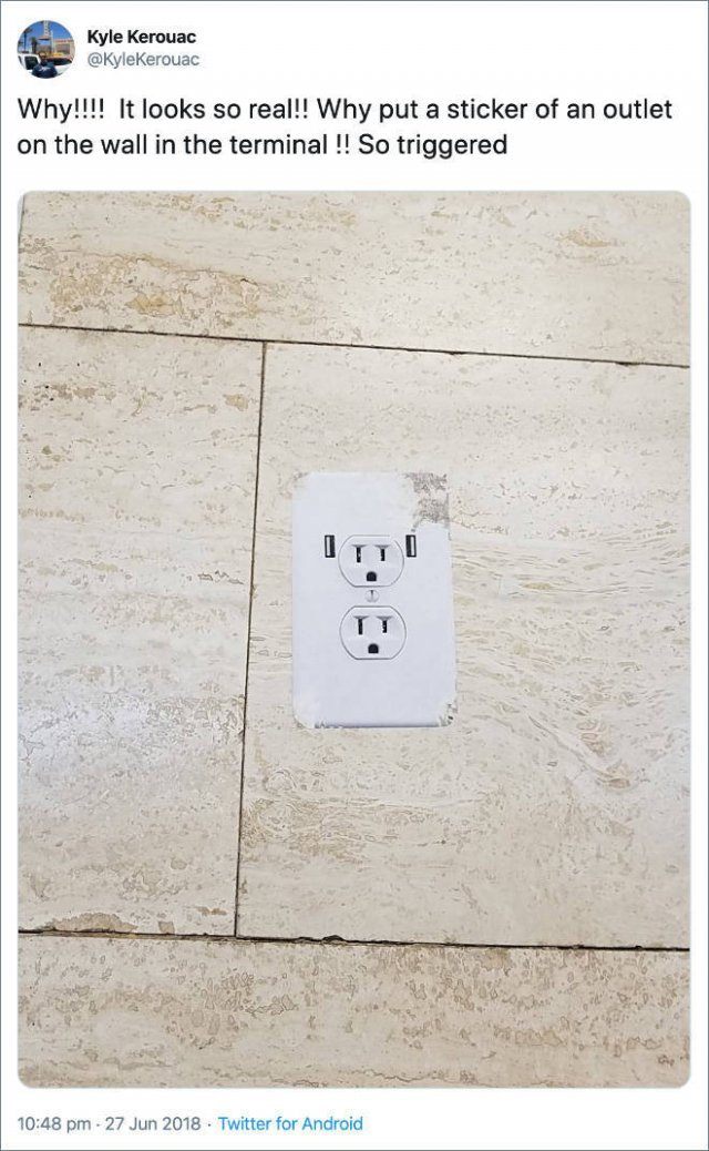 Airport Prank: Fake Power Outlets