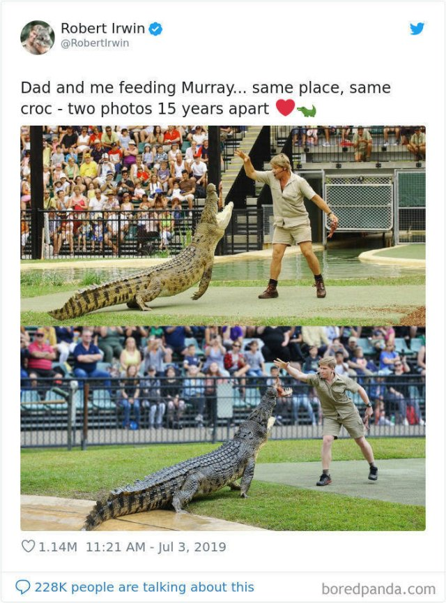 Robert Irwin Recreates His Father's Photos