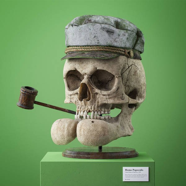 Fossil Skulls Of Popular Cartoon Characters By Filip Hodas