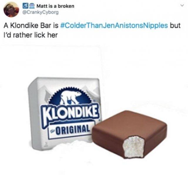 #ColderThanJenAniston'Nipples Tweets