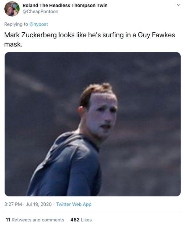 Mark Zuckerberg Surfing Face