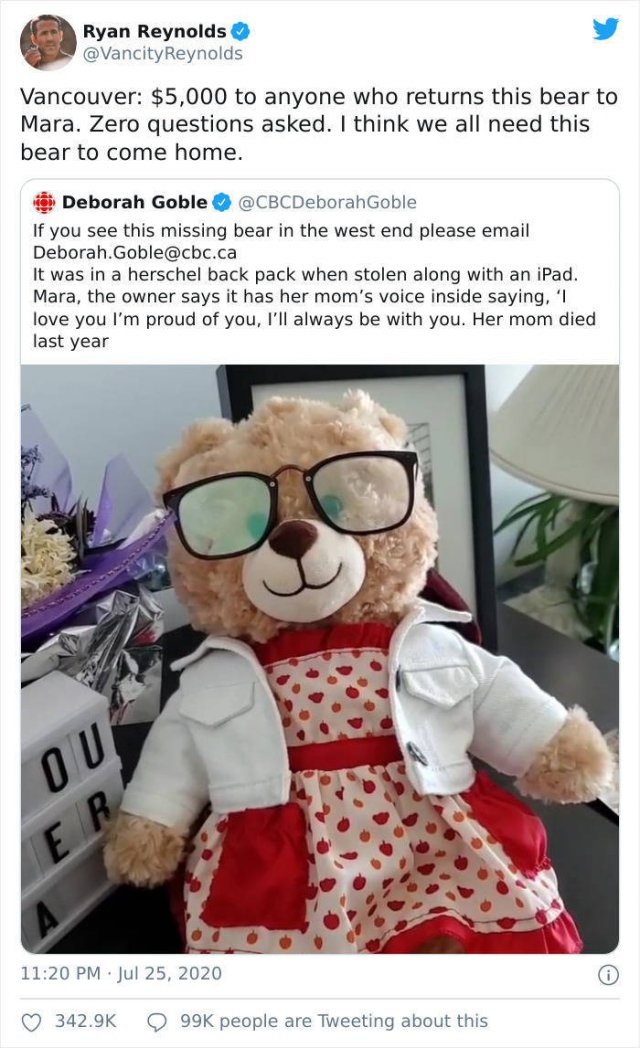 Ryan Reynolds Helped A Woman To Find Her Stolen Teddy