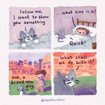 Heartwarming Watercolor Comics