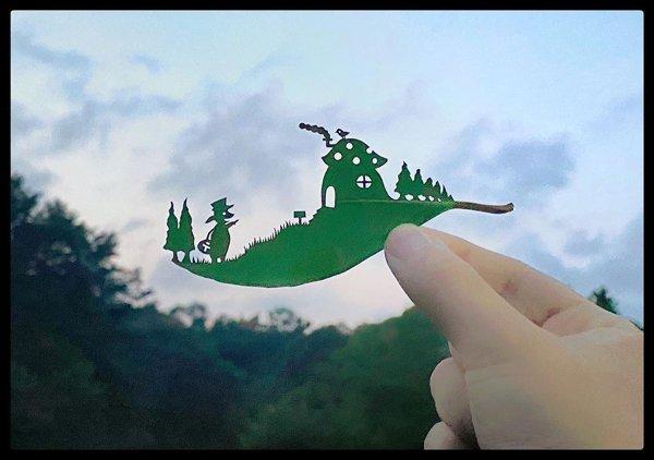 Leaf Carvings By Japanese Artist