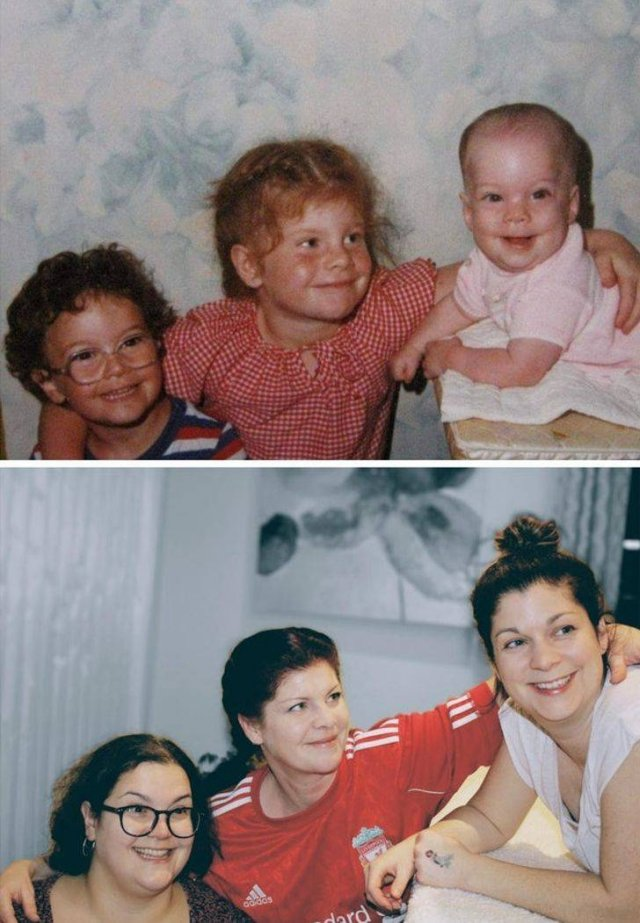 People Recreate Old Family Photos