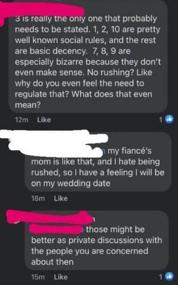 Bride Shares Wedding Rules