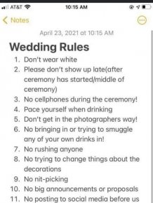 Bride Shares Wedding Rules